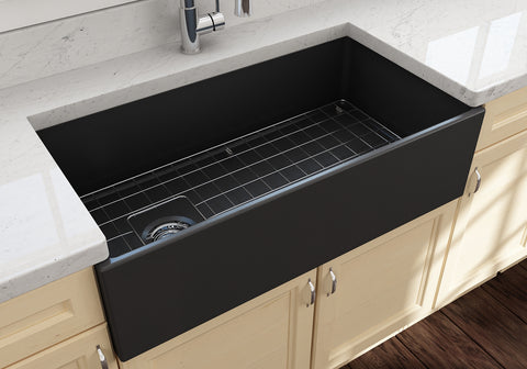 "BOCCHI Contempo 36"" Fireclay Farmhouse Apron Single Bowl Kitchen Sink, Matte Dark Gray, 1354-020-0120 Lifestyle Image 