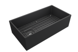 "BOCCHI Contempo 36"" Fireclay Farmhouse Apron Single Bowl Kitchen Sink, Matte Dark Gray, 1354-020-0120 with Grid Angled View 
