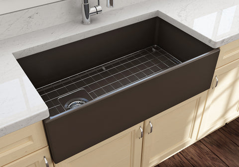 "BOCCHI Contempo 36"" Fireclay Farmhouse Apron Single Bowl Kitchen Sink, Matte Brown, 1354-025-0120 Lifestyle Image 