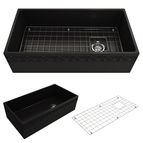 "BOCCHI Vigneto 36"" Fireclay Farmhouse Apron Single Bowl Kitchen Sink, Matte Black, 1355-004-0120 Showcase Image 