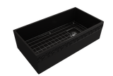 "BOCCHI Vigneto 36"" Fireclay Farmhouse Apron Single Bowl Kitchen Sink, Matte Black, 1355-004-0120 with Grid Angled View 