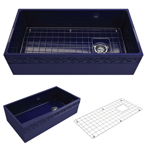 "BOCCHI Vigneto 36"" Fireclay Farmhouse Apron Single Bowl Kitchen Sink, Sapphire Blue, 1355-010-0120 Showcase Image 