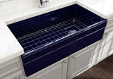 "BOCCHI Vigneto 36"" Fireclay Farmhouse Apron Single Bowl Kitchen Sink, Sapphire Blue, 1355-010-0120 Lifestyle Image 