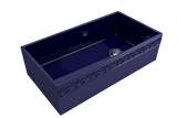 "BOCCHI Vigneto 36"" Fireclay Farmhouse Apron Single Bowl Kitchen Sink, Sapphire Blue, 1355-010-0120 