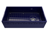"BOCCHI Vigneto 36"" Fireclay Farmhouse Apron Single Bowl Kitchen Sink, Sapphire Blue, 1355-010-0120 with Grid Straight View 