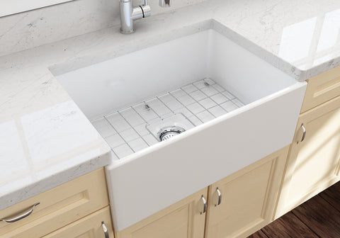 "BOCCHI Contempo 27"" Fireclay Farmhouse Apron Single Bowl Kitchen Sink, White, 1356-001-0120 Lifestyle Image 