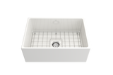 "BOCCHI Contempo 27"" Fireclay Farmhouse Apron Single Bowl Kitchen Sink, White, 1356-001-0120 with Grid Straight View 