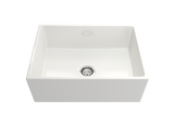 "BOCCHI Contempo 27"" Fireclay Farmhouse Apron Single Bowl Kitchen Sink, White, 1356-001-0120 Straight View 