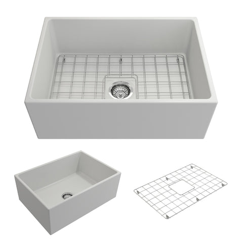 "BOCCHI Contempo 27"" Fireclay Farmhouse Apron Single Bowl Kitchen Sink, Matte White, 1356-002-0120 Showcase Image 