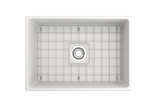 "BOCCHI Contempo 27"" Fireclay Farmhouse Apron Single Bowl Kitchen Sink, Matte White, 1356-002-0120 Top View with Grid 