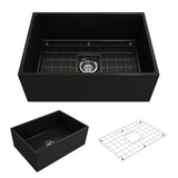 "BOCCHI Contempo 27"" Fireclay Farmhouse Apron Single Bowl Kitchen Sink, Matte Black, 1356-004-0120 Showcase Image 