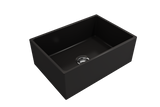 "BOCCHI Contempo 27"" Fireclay Farmhouse Apron Single Bowl Kitchen Sink, Matte Black, 1356-004-0120 