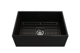 "BOCCHI Contempo 27"" Fireclay Farmhouse Apron Single Bowl Kitchen Sink, Matte Black, 1356-004-0120 with Grid Angled View 