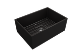 "BOCCHI Contempo 27"" Fireclay Farmhouse Apron Single Bowl Kitchen Sink, Matte Black, 1356-004-0120 with Grid Straight View 