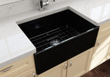 "BOCCHI Contempo 27"" Fireclay Farmhouse Apron Single Bowl Kitchen Sink, Black, 1356-005-0120 Lifestyle Image 