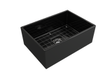 "BOCCHI Contempo 27"" Fireclay Farmhouse Apron Single Bowl Kitchen Sink, Black, 1356-005-0120 with Grid Angled View 