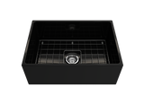 "BOCCHI Contempo 27"" Fireclay Farmhouse Apron Single Bowl Kitchen Sink, Black, 1356-005-0120 with Grid Straight View 