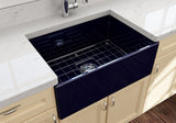 "BOCCHI Contempo 27"" Fireclay Farmhouse Apron Single Bowl Kitchen Sink, Sapphire Blue, 1356-010-0120 Lifestyle Image 