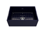 "BOCCHI Contempo 27"" Fireclay Farmhouse Apron Single Bowl Kitchen Sink, Sapphire Blue, 1356-010-0120 with Grid Straight View 