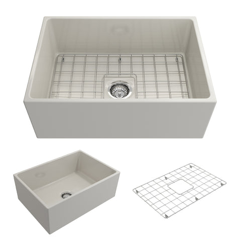 "BOCCHI Contempo 27"" Fireclay Farmhouse Apron Single Bowl Kitchen Sink, Biscuit, 1356-014-0120 Showcase Image 