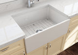 "BOCCHI Contempo 27"" Fireclay Farmhouse Apron Single Bowl Kitchen Sink, Biscuit, 1356-014-0120 Lifestyle Image 