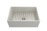 "BOCCHI Contempo 27"" Fireclay Farmhouse Apron Single Bowl Kitchen Sink, Biscuit, 1356-014-0120 with Grid Angled View 
