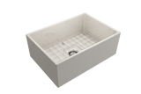 "BOCCHI Contempo 27"" Fireclay Farmhouse Apron Single Bowl Kitchen Sink, Biscuit, 1356-014-0120 with Grid Straight View 