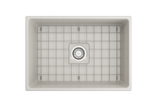 "BOCCHI Contempo 27"" Fireclay Farmhouse Apron Single Bowl Kitchen Sink, Biscuit, 1356-014-0120 Top View with Grid 