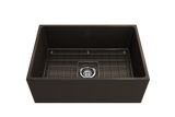 "BOCCHI Contempo 27"" Fireclay Farmhouse Apron Single Bowl Kitchen Sink, Matte Brown, 1356-025-0120 with Grid Angled View 