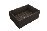 "BOCCHI Contempo 27"" Fireclay Farmhouse Apron Single Bowl Kitchen Sink, Matte Brown, 1356-025-0120 with Grid Straight View 