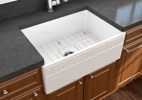 "BOCCHI Vigneto 27"" Fireclay Farmhouse Apron Single Bowl Kitchen Sink, White, 1357-001-0120 Lifestyle Image 