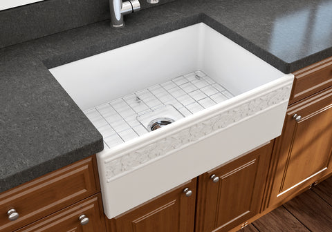 "BOCCHI Vigneto 27"" Fireclay Farmhouse Apron Single Bowl Kitchen Sink, Matte White, 1357-002-0120 Lifestyle Image 