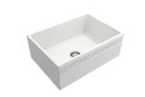"BOCCHI Vigneto 27"" Fireclay Farmhouse Apron Single Bowl Kitchen Sink, Matte White, 1357-002-0120 