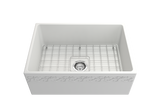 "BOCCHI Vigneto 27"" Fireclay Farmhouse Apron Single Bowl Kitchen Sink, Matte White, 1357-002-0120 with Grid Straight View 