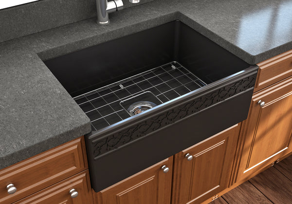 "BOCCHI Vigneto 27"" Fireclay Farmhouse Apron Single Bowl Kitchen Sink, Matte Black, 1357-004-0120 Lifestyle Image 