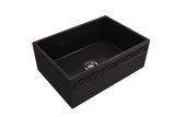 "BOCCHI Vigneto 27"" Fireclay Farmhouse Apron Single Bowl Kitchen Sink, Matte Black, 1357-004-0120 