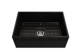 "BOCCHI Vigneto 27"" Fireclay Farmhouse Apron Single Bowl Kitchen Sink, Matte Black, 1357-004-0120 with Grid Angled View 