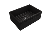 "BOCCHI Vigneto 27"" Fireclay Farmhouse Apron Single Bowl Kitchen Sink, Matte Black, 1357-004-0120 with Grid Straight View 