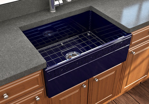 "BOCCHI Vigneto 27"" Fireclay Farmhouse Apron Single Bowl Kitchen Sink, Sapphire Blue, 1357-010-0120 Lifestyle Image 