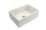"BOCCHI Vigneto 27"" Fireclay Farmhouse Apron Single Bowl Kitchen Sink, Biscuit, 1357-014-0120 