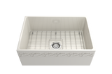 "BOCCHI Vigneto 27"" Fireclay Farmhouse Apron Single Bowl Kitchen Sink, Biscuit, 1357-014-0120 with Grid Angled View 