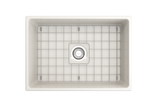 "BOCCHI Vigneto 27"" Fireclay Farmhouse Apron Single Bowl Kitchen Sink, Biscuit, 1357-014-0120 Top View with Grid 