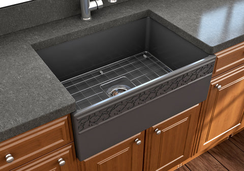 "BOCCHI Vigneto 27"" Fireclay Farmhouse Apron Single Bowl Kitchen Sink, Matte Dark Gray, 1357-020-0120 Lifestyle Image 