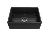 "BOCCHI Vigneto 27"" Fireclay Farmhouse Apron Single Bowl Kitchen Sink, Matte Dark Gray, 1357-020-0120 with Grid Angled View 