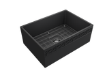"BOCCHI Vigneto 27"" Fireclay Farmhouse Apron Single Bowl Kitchen Sink, Matte Dark Gray, 1357-020-0120 with Grid Straight View 