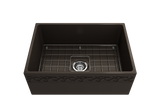 "BOCCHI Vigneto 27"" Fireclay Farmhouse Apron Single Bowl Kitchen Sink, Matte Brown, 1357-025-0120 with Grid Angled View 