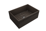 "BOCCHI Vigneto 27"" Fireclay Farmhouse Apron Single Bowl Kitchen Sink, Matte Brown, 1357-025-0120 with Grid Straight View 