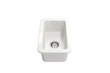 "BOCCHI Sotto 12"" Fireclay Undermount Single Bowl Bar Sink, White, 1358-001-0120 Angled Top View 