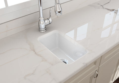 "BOCCHI Sotto 12"" Fireclay Undermount Single Bowl Bar Sink, White, 1358-001-0120 Lifestyle Image 