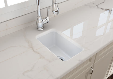 "BOCCHI Sotto 12"" Fireclay Undermount Single Bowl Bar Sink, Matte White, 1358-002-0120 Lifestyle Image 